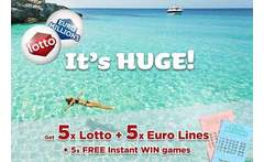 5 Syndicated EuroMillions & 5 Lotto Lines + 5 \'Instant Win\' Games £2 instead of £8 for five syndicated EuroMillions and five Lotto lines, plus five instant win games with chances for an up to £7k win from Lotto Social - save 75% - wowcher