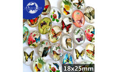 20pcs/lot 18*25mm Wholesale Butterfly Patterns Pictures Glass Cabochon Flat Back Embellishments Oval Mixed Colors - AliExpress