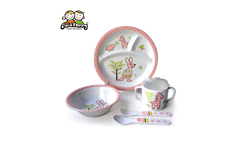 Baby 5pcs Tableware Set Melamine Plate Bowl Sippy Cup Cutlery For Girls Gifts Kangaroo Design Sisi&Tommy - AliExpress