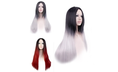 New Popular European westen style ombre black to silver whtie synthetic hair wig,long straight ladies party hair wig - AliExpress