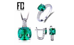 8.7ct Nano Russian Emerald Ring Pendant Earrings Clip Engagement Wedding Set 925 Sterling Silver Square Fine Jewelry For Women - AliExpress