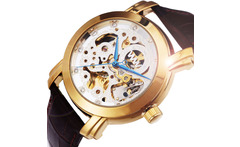 3.26 Sale 2013 New Fashion Rhinestones Index  Skeleton Dial Golden Steel Bezel Men Automatic Mechanical Wristwatch Leather Band - AliExpress