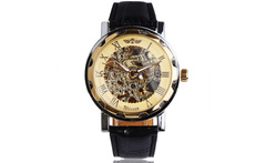 Fashion Luxury Golden/Silver Movement Skeleton Dial Men Automatic Mechanical Wrist Watch Genuine Leather Band - AliExpress
