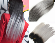 100g Ombre Gray Brazilian Virgin Human Hair Extensions Silky Straight Two Tone T1B/Grey Virgin Hair Weaves for braiding for glue - AliExpress