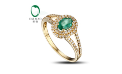 Lovely 4x6mm Colombian Emerald Pave Full Cut Diamond Engagement Ring Promo!! - AliExpress