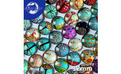 50pcs/lot 12mm HOT DIY Glass Cabochons Tree Branch Pattern Flat Back Round Mixed Color Cabochon Fashion Jewelry Component - AliExpress