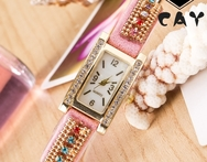 (0670) Women colorful Rhinestone fully covered  Bracelet watch rectangle Dial Gold Alloy PU mix band  Dashing Wrist Watch - AliExpress
