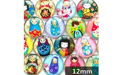 50pcs/lot 12mm clear round glass cabochon Matryoshka mixed pattern fit cameo base setting for jewelry accessories - AliExpress
