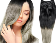 12inch-26inch 120g 2pcs Lot Indian Ombre Grey Hair  Full Head Clip in Human Hair Extension Silver Gray Human Hair Weaving - AliExpress