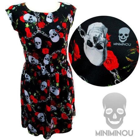Vestido Miniminou Skull & Chains