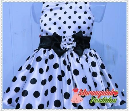 Vestido infantil preto de bola branca