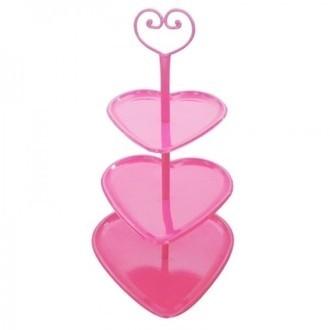Prato para Doces Coração 3 Andares Pink