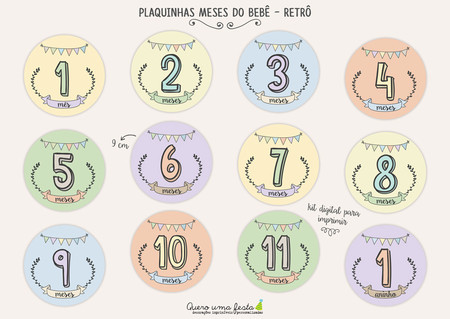 PLACAS MESES DO BEBÊ - RETRÔ - KIT DIGITAL