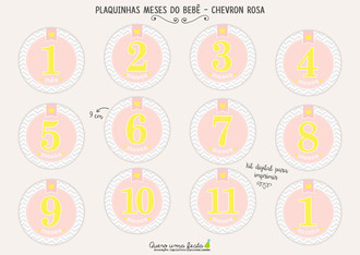 PLACAS MESES DO BEBÊ - CHEVRON ROSA - KIT DIGITAL