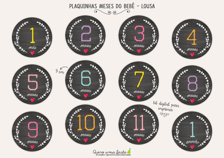 PLACAS MESES DO BEBÊ - LOUSA - KIT DIGITAL