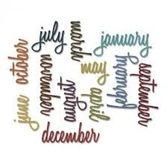 FACA SIZZIX - THINLITS - TIM HOLTZ - CALENDAR WORDS: SCRIPT