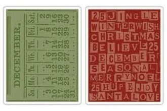 EMBOSSING FOLDER SIZZIX - DECEMBER CALENDAR & HOLIDAY WORDS SET