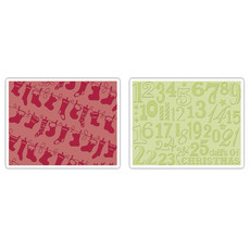 EMBOSSING FOLDER SIZZIX - CHRISTMAS STOCKINGS SET