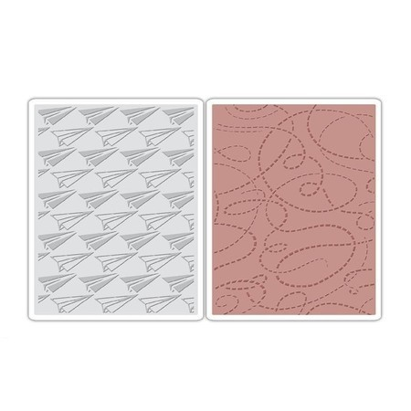 EMBOSSING FOLDER SIZZIX - PAPER AIRPLANE & DOTTED LINES SET