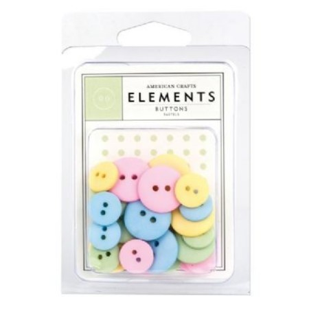 AMERICAN CRAFTS - ELEMENTS - BUTTONS PASTEL - BOTÕES PASTEL