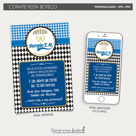 Convite Boteco Azul Arte Digital