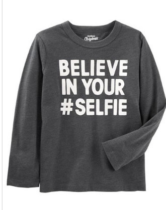 "Camiseta manga comprida OshKosh "" Believe In your Selfie"""