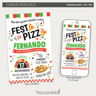 CONVITE PIZZA - ARTE DIGITAL