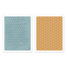 EMBOSSING FOLDER SIZZIX - BUBBLE & HONEYCOMB SET