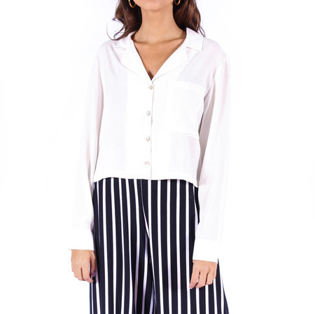 Camisa Cropped Viscose Off White