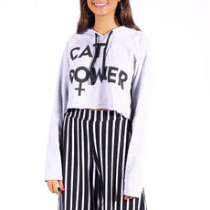 Moletom Cropped Cat Power Cinza Mescla