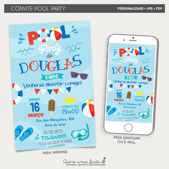 CONVITE POOL PARTY - ARTE DIGITAL