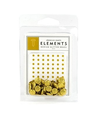 MEDIUM BRADS AMERICAN CRAFTS - GOLD GLITTER