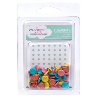 MEDIUM BRADS AMERICAN CRAFTS - LIZZY ASST GLITTER