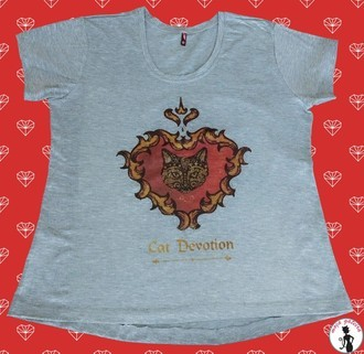 Camiseta Cat Devotion Cinza Mescla