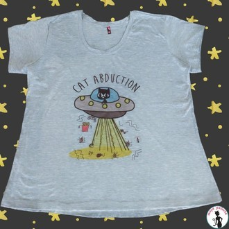 Camiseta Cat Abduction Cinza Mescla