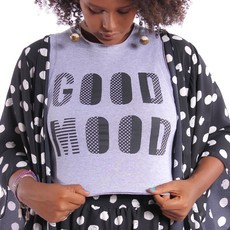 Cropped GOOD MOOD Cinza Mescla