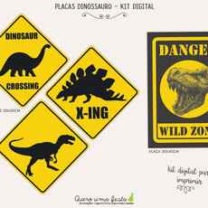 PLACAS FESTA DINOSSAURO - KIT DIGITAL