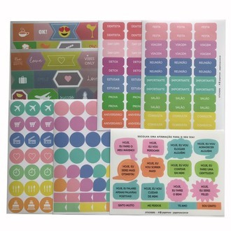 Kit cartelas adesivos - Stickers Papernow