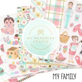 KIT PAPÉIS 12x12 - MY MEMORIES CRAFTS - MY FAMILY