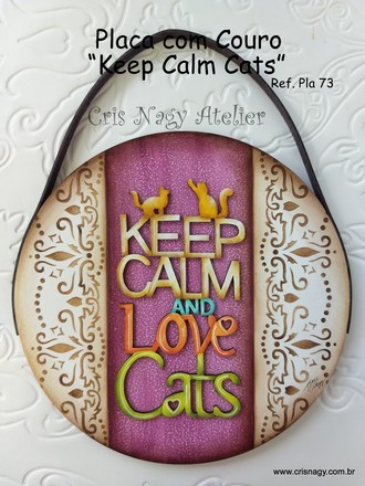 Placa com couro Keep Calm Cats