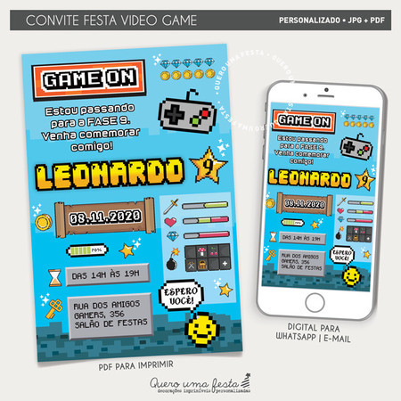 CONVITE FESTA VIDEO GAME - DIGITAL