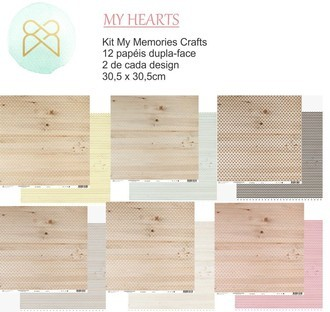 KIT PAPÉIS 12x12 - MY MEMORIES CRAFTS - MY HEARTS