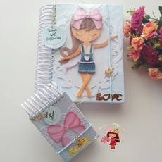 Caderno decorado menininha Love