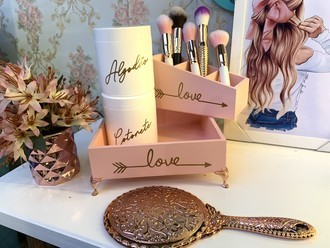 Kit Make 3 peças Love Rosa Blush com pé de metal Rosegold