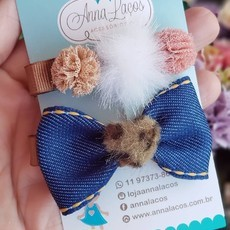 Duplinha Hair Clip Jeans + Animal Print