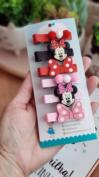 Trio de Hair Clips Minnie