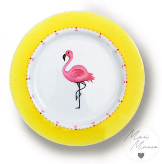 Prato decorativo Flamingo - (19,5 x 19,5 cm)