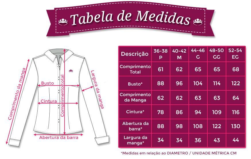 Resultado de imagem para camisa social feminina tabela