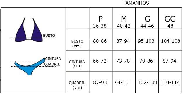 Resultado de imagem para tabela de medidas para biquini