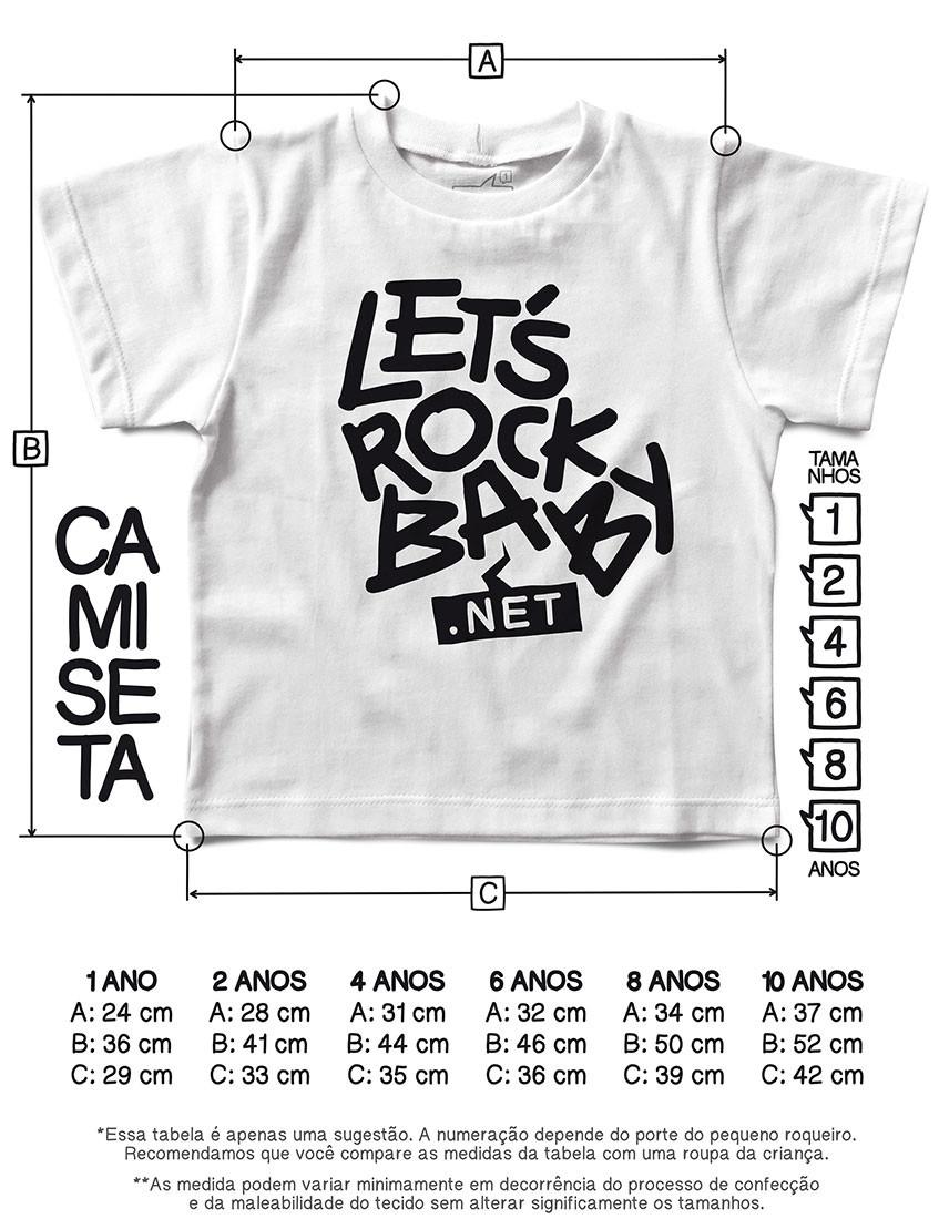 Tabela de Medidas Camisetas Let's Rock Baby